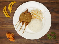 45. Chicken Satay Sticks with Rice